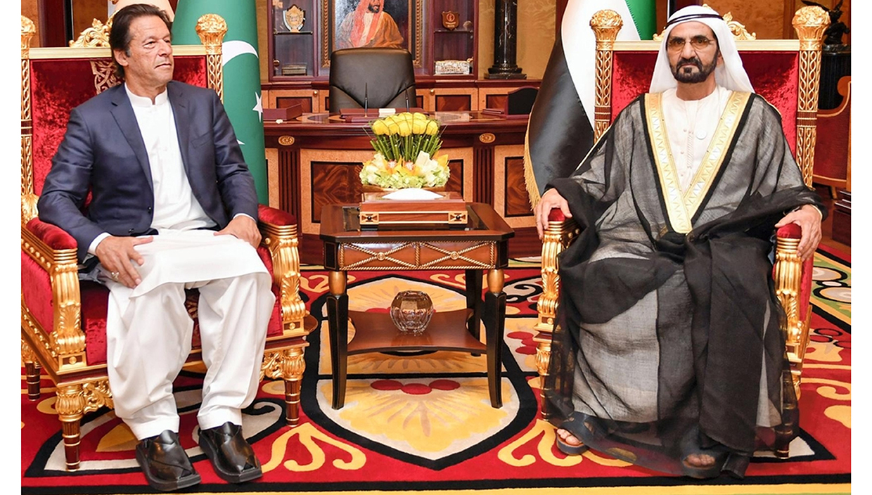 Prime Minister of Pakistan Imran Khan wearing ChaCha Noor Din Kaptaan Chappal during state visit of UAE and meetup with Mohammed bin Rashid Al Maktoum.