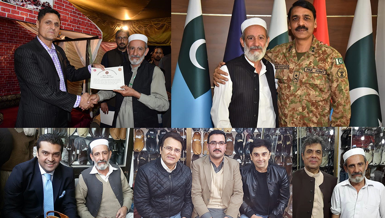 ChaCha Noor Din creator of Kaptaan Chappal receiving appreciation from Director General ISPR. Major General Asif Ghafoor and Brigadier. Akhtar Alim . TV and Film Celebrities like Fakhar-e-Alam, Behroze Sabzwari, and Salman Saquib Sheikh aka Mani are also admirers and customers of ChaCha Noor Din Kaptaan Chappal.