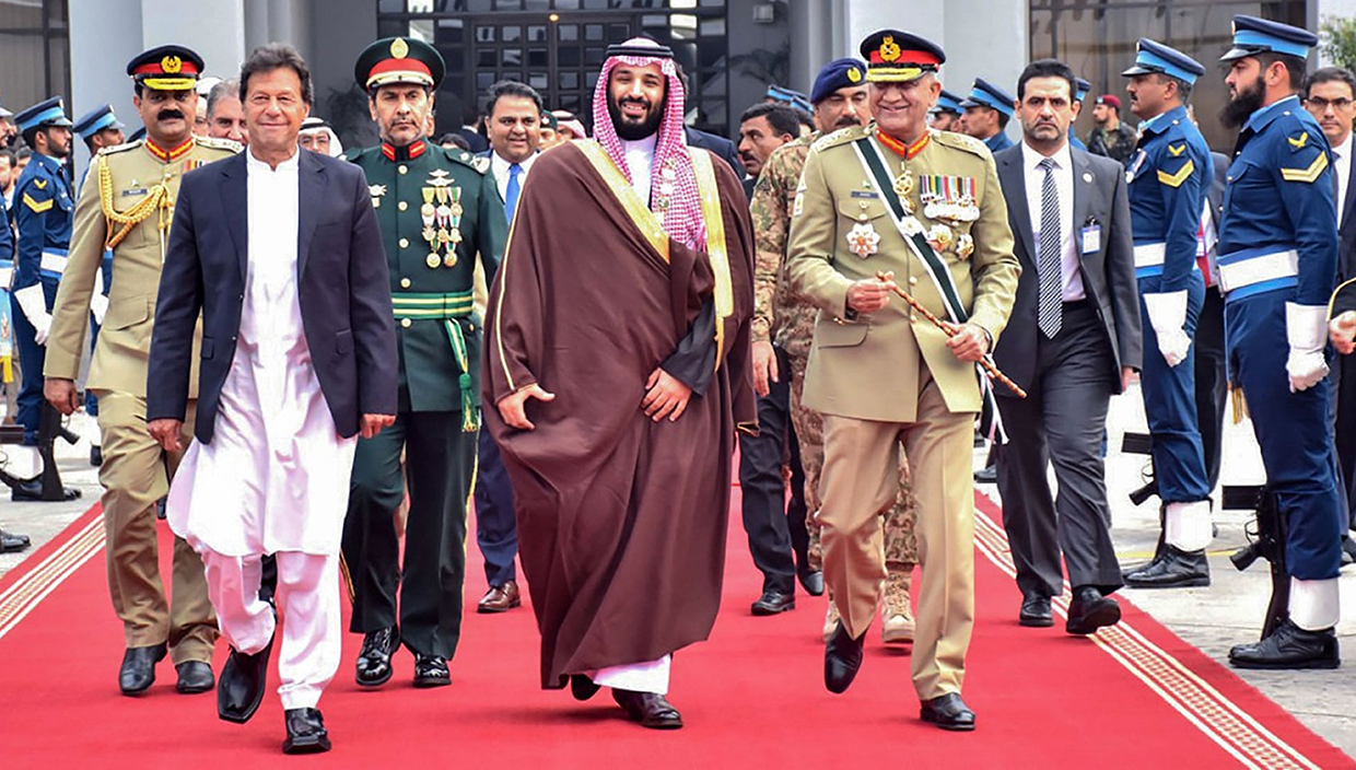 Prime Minister of Pakistan Imran Khan wearing ChaCha Noor Din Kaptaan Chappal during state visit of Crown Prince of Saudi Arabia Mohammad Bin Salman Al Saud.